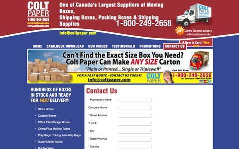 Screenshot of Contact Page coltpaper.com - Contact Colt Paper - 1-800-249-2658 - captured Sept. 30, 2014