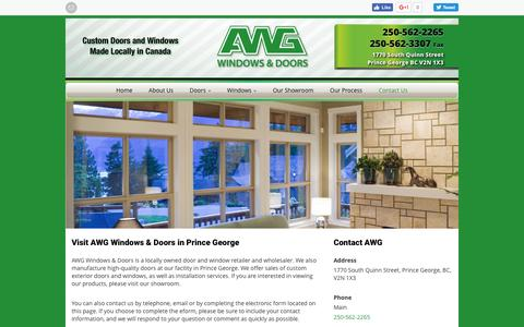 Screenshot of Contact Page awgwd.com - AWG Windows & Doors | Prince George & Fort St. John | Contact Us - captured Nov. 20, 2016