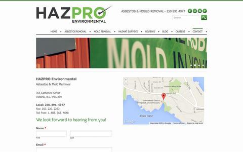 Screenshot of Contact Page weebly.com - Hazpro Environmental   Asbestos and Mold Removal Victoria BC & Vancouver Island - Asbestos Removal Victoria BC   Mould Testing   HAZPRO - captured Sept. 17, 2014