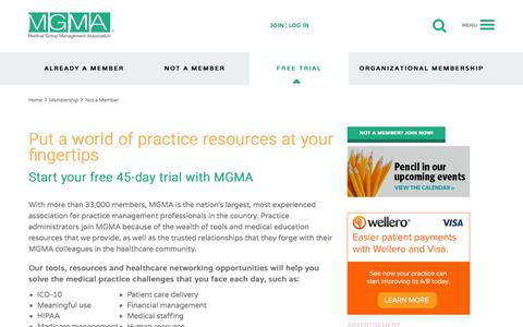 Screenshot of Trial Page mgma.com - 45-Day Free Trial Membership to MGMA - MGMA - captured Nov. 3, 2015