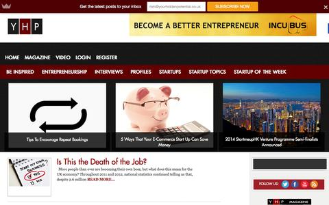 Screenshot of Home Page Login Page yhponline.com - YHP | Entrepreneurs In Depth | Be Inspired | Your Hidden Potential - captured Sept. 23, 2014