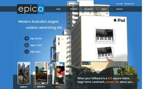 Screenshot of Home Page epico.com.au - epico, outdoor advertising - captured Oct. 2, 2014