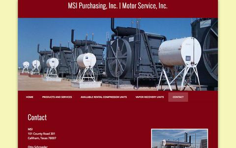 Screenshot of Contact Page msipinc.com - Contact - captured Oct. 3, 2014