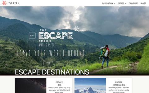 Screenshot of zostel.com - Zostel Escape | Culture, Nature, Thrill - captured July 20, 2017