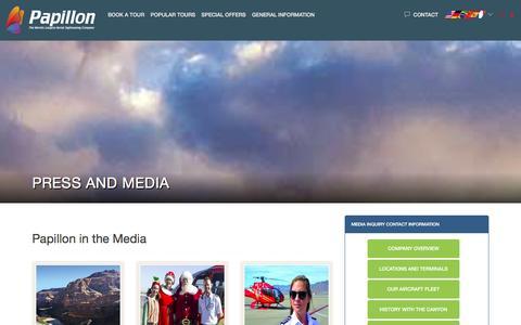 Screenshot of Press Page papillon.com - Press and Media   Papillon Grand Canyon Air Tours - captured Jan. 21, 2016