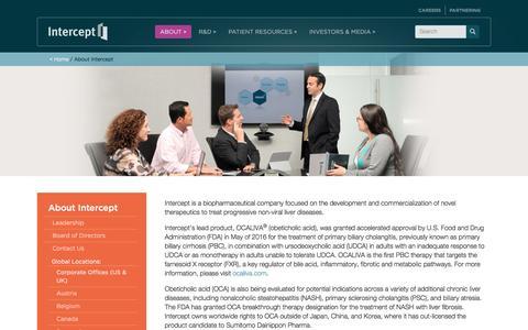 Screenshot of About Page interceptpharma.com - About Intercept | Intercept Pharmaceuticals, Inc - captured May 9, 2017