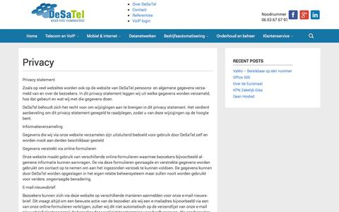 Screenshot of Privacy Page desatel.nl - Privacy - DeSaTel - captured Sept. 30, 2014