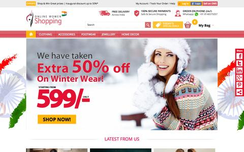 Screenshot of Home Page onlinewomenshopping.com - Online Women Shopping:India's Best Store for Ladies Clothes, Shoes, Cosmetics, Jewelry, Fashion - captured Jan. 28, 2015