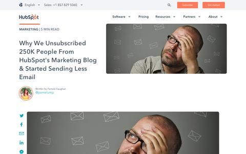 Screenshot of Blog hubspot.com - Why We Unsubscribed 250K People From HubSpot's Marketing Blog & Started Sending Less Email - captured Oct. 12, 2017