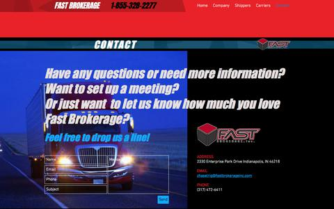 Screenshot of Contact Page fastbrokerageinc.com - Fast Brokerage Contact Us - captured June 5, 2017