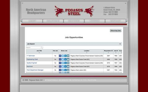 Screenshot of Jobs Page pegasussteel.com - Pegasus Steel, LLC :: North American Headquarters - captured May 15, 2017