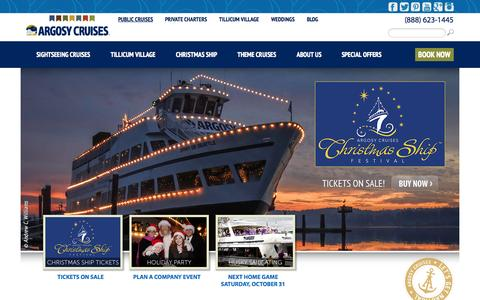 Screenshot of Home Page argosycruises.com - Argosy Cruises - Seattle Sightseeing Tours, Dining Cruises & Events - captured Oct. 23, 2015