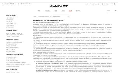 Screenshot of Privacy Page luisaviaroma.com - Contact us - Luisaviaroma - captured Jan. 26, 2019