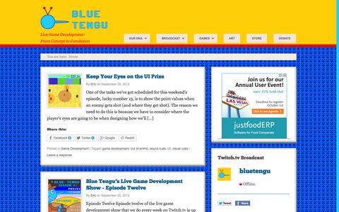 Screenshot of Home Page bluetengu.com - Blue Tengu | Live Game Development: From Concept to Conclusion - captured Sept. 30, 2014