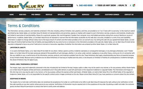 Screenshot of Terms Page bestvaluerv.com - Terms | Best Value RV | Krum Texas - captured June 1, 2017