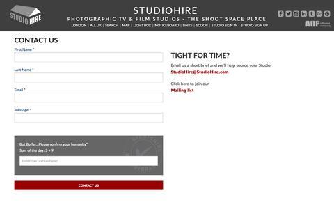Screenshot of Contact Page studiohire.com - STUDIOHIRE - Contact Us - captured Oct. 1, 2018