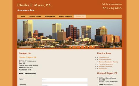 Screenshot of Contact Page cfmlaw.com - Phoenix Law Firm, Charles F. Myers, P.A. | Contact Us - captured Nov. 4, 2016