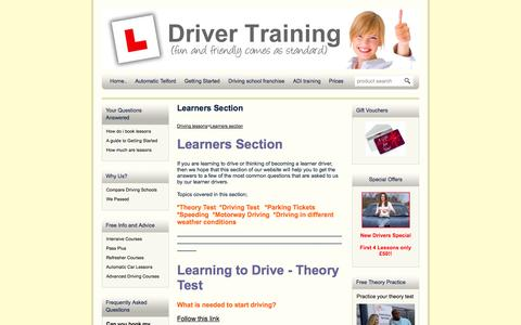 Screenshot of FAQ Page local-driving-lessons.me.uk - Learning to drive FAQ | Driver Training Ltd | Learning to drive - captured Nov. 4, 2014