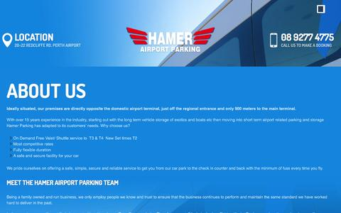 Screenshot of About Page airport.com.au - About us | Hamer Airport Parking - captured Oct. 19, 2016