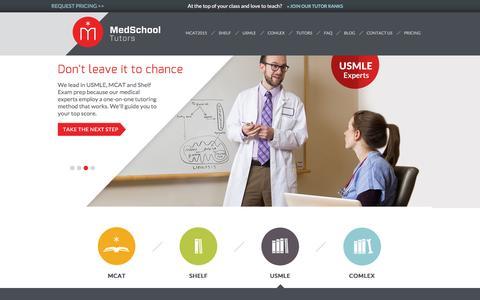 Screenshot of Home Page medschooltutors.com - Med School Tutors | 1-on-1 USMLE & MCAT2015 Test Prep - captured Jan. 18, 2016