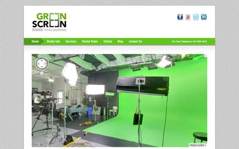 Screenshot of Home Page greenscreenstudios.ca - Home – Make a corporate video in Toronto | Green Screen Studios | Toronto's Leading Green Screen Studio and Video Production Facility - captured Sept. 30, 2014