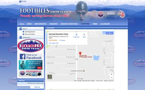 Screenshot of Locations Page teamunify.com - Foothills Swim Team : LOCATIONS - captured Jan. 21, 2017
