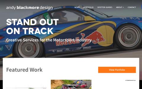 Screenshot of Home Page andyblackmoredesign.com - Andy Blackmore Design - Livery Design & Vehicle Styling - captured Dec. 26, 2015