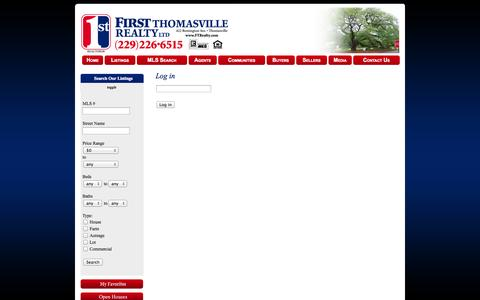 Screenshot of Login Page ftrealty.com - First Thomasville Realty - Thomasville Georgia, (229)226-6515, Real Estate, Commercial, Residential, Homes for Sale, MLS, Property Listings - captured Oct. 6, 2014