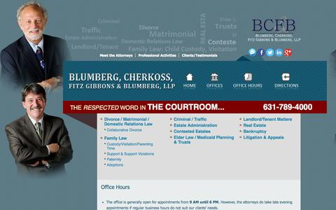 Screenshot of Hours Page bcfblaw.com - Office Hours and Fees - captured Oct. 5, 2014