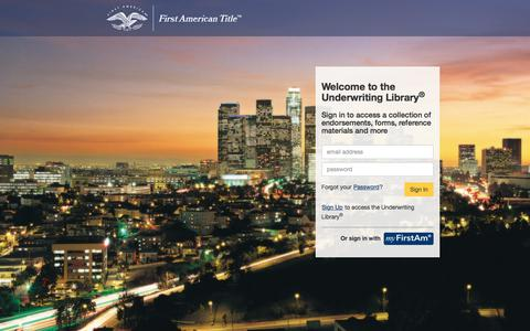 Screenshot of Login Page firstam.com - Home Page - Underwriting Library - captured Feb. 24, 2018