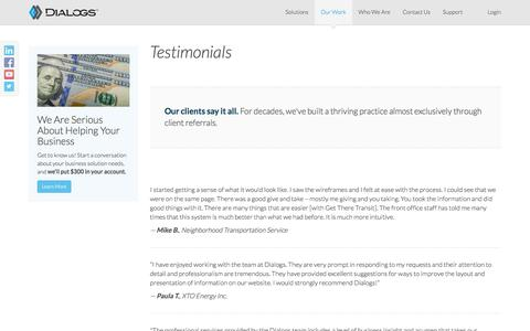 Screenshot of Testimonials Page dialogs.com - Testimonials - Dialogs.com - captured Aug. 1, 2016