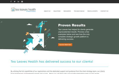 Screenshot of Case Studies Page tealeaveshealth.com - Tea Leaves Health | Client Case StudiesTea Leaves Health - captured Aug. 12, 2018
