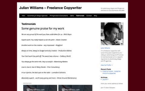 Screenshot of Testimonials Page wordpress.com - Testimonials | Julian Williams – Freelance Copywriter - captured Oct. 16, 2017