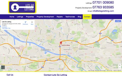 Screenshot of Contact Page letsgoletting.com - Contact Letting Agents Glasgow   Property Lets Glasgow   Lets Go Letting - captured Dec. 9, 2015
