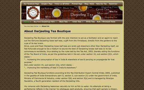 Screenshot of About Page darjeelingteaboutique.com - About Darjeeling Tea Boutique - captured Sept. 30, 2014