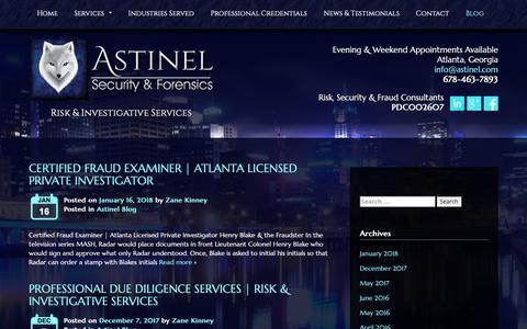 Screenshot of Blog astinel.com - Astinel Security & Forensics | Risk & Investigative Services - captured Oct. 4, 2018