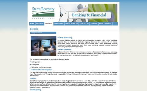 Screenshot of Services Page statesrecovery.com - States Recovery Systems, Inc., Sacramento Collections Agency - captured Oct. 7, 2014