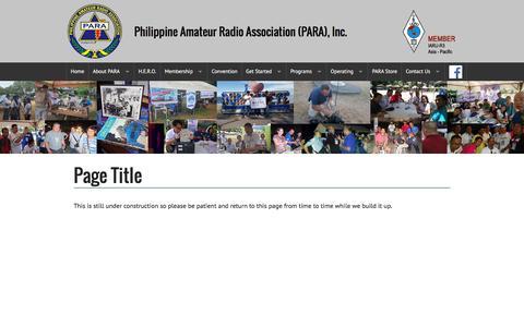 Screenshot of Menu Page para.org.ph - Philippine Amateur Radio Association (PARA), Inc. - captured May 4, 2016