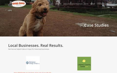 Screenshot of Case Studies Page odddogmedia.com - Case Studies | Odd Dog Media - captured Sept. 21, 2018