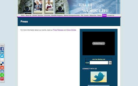 Screenshot of Press Page faithandworklife.org - Press | Faith and Work Life - captured Jan. 8, 2016