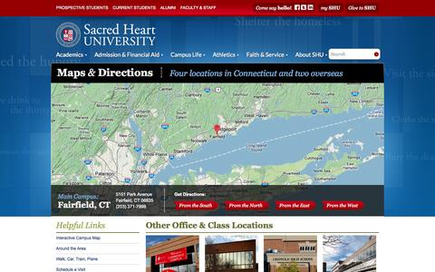 Screenshot of Maps & Directions Page sacredheart.edu - Maps & Directions | Sacred Heart University Connecticut - captured Sept. 19, 2014