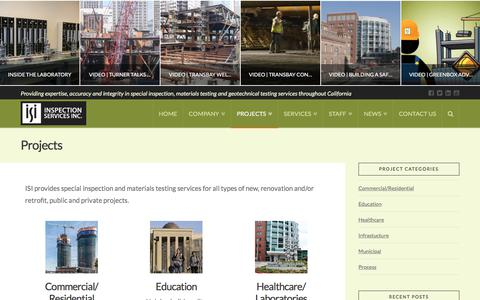 Screenshot of Case Studies Page inspectionservices.net - Projects | Inspection Services, Inc. - captured Oct. 15, 2017