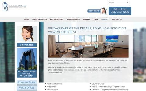 Screenshot of Support Page smartspacemiami.com - Smart Space Miami Support Services | Physical & Virtual Office Solutions In Brickell - captured Nov. 3, 2017