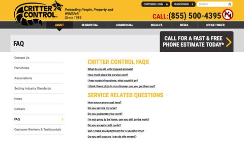 Screenshot of FAQ Page crittercontrol.com - Critter Control Frequently Asked Questions - captured May 22, 2017