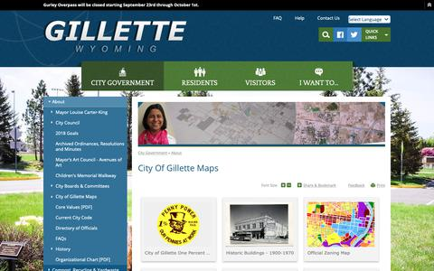 Screenshot of Maps & Directions Page gillettewy.gov - City of Gillette Maps | Gillette, WY - captured Sept. 28, 2018