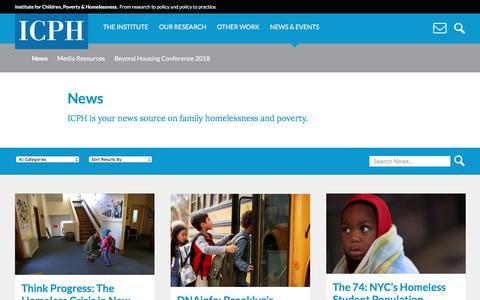 Screenshot of Press Page icphusa.org - Institute for Children, Poverty & Homelessness - captured Nov. 26, 2016