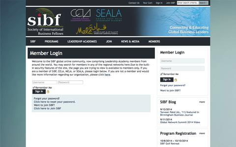 Screenshot of Login Page sibf.org - SIBF - captured Oct. 3, 2014