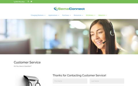 Screenshot of Support Page semaconnect.com - Customer Care - Smart Electric Vehicle (EV) Charging Stations - captured Nov. 8, 2019