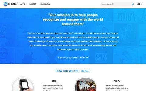 Screenshot of About Page shazam.com - Company - Shazam - captured Nov. 19, 2016