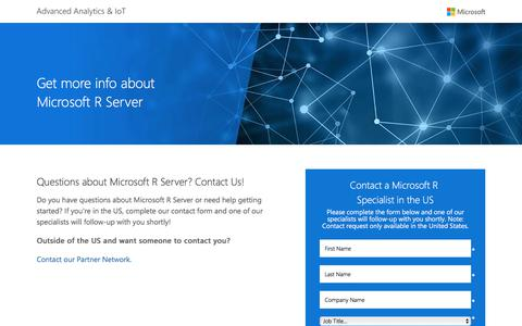 Screenshot of Landing Page microsoft.com - Microsoft R Server Questions  |  Microsoft - captured June 17, 2017